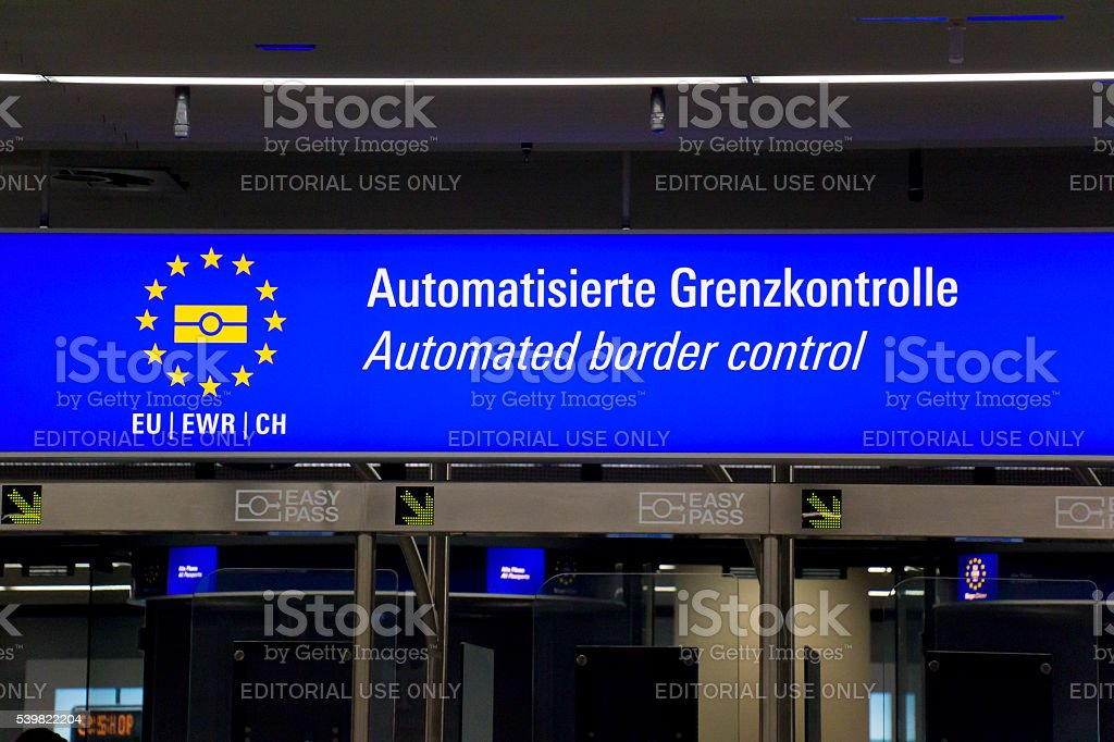 Automated Border Control Sign stock photo