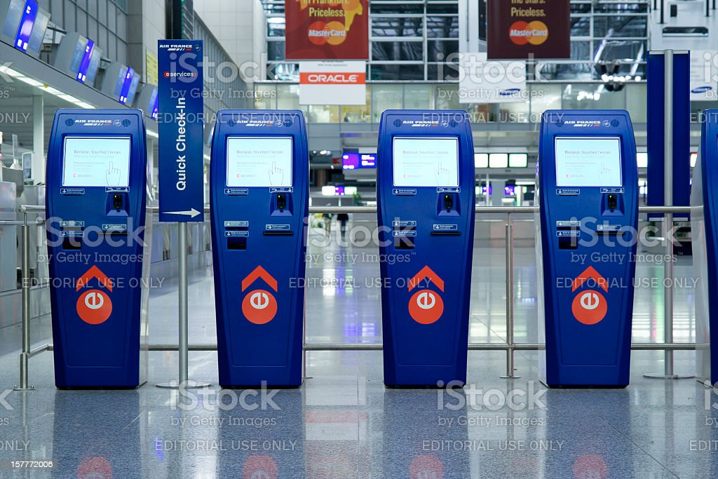 Automated check-in counters at Frankfurt airport stock photo