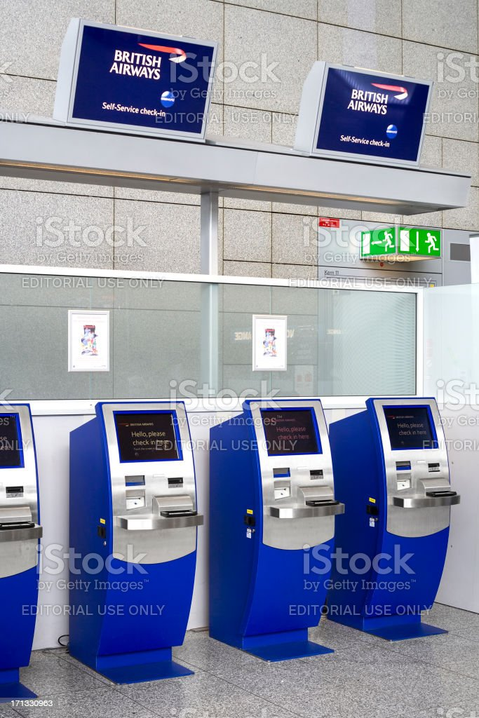 Automated check-in counters of British Airways royalty-free stock photo