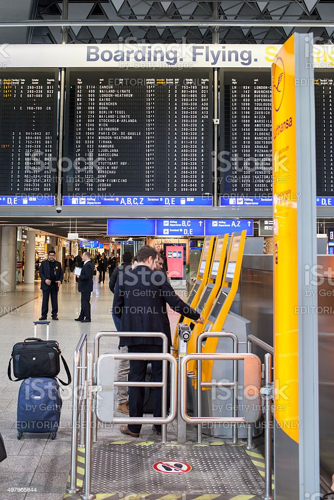 Automated check-in counters of Lufthansa at the airport stock photo