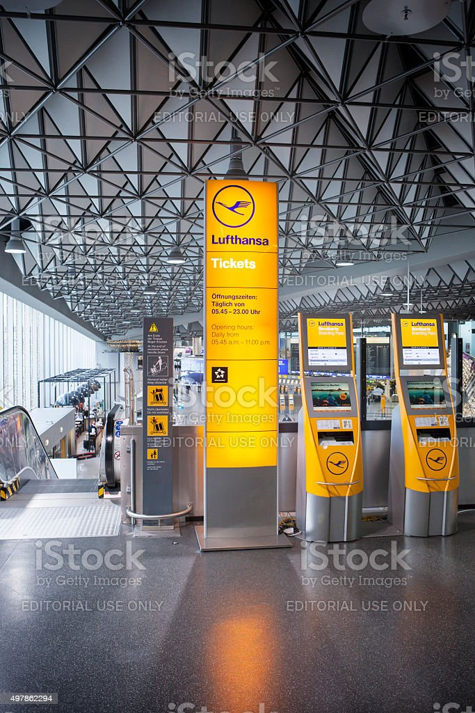 Automated check-in / ticket counter of Lufthansa at the airport stock photo