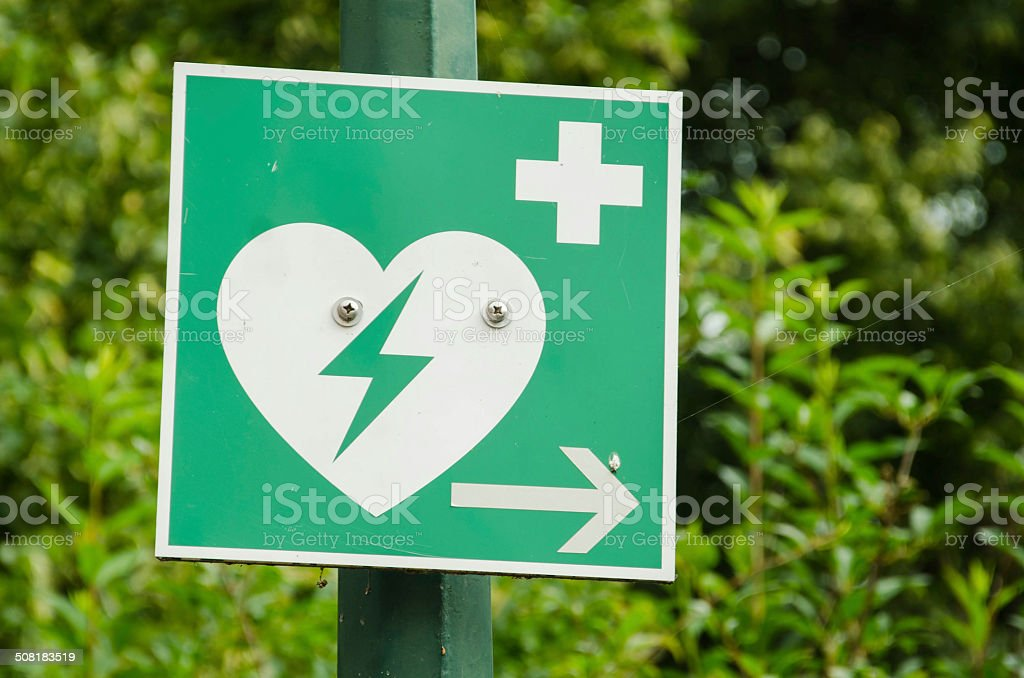 Automated External Defibrilator sign stock photo