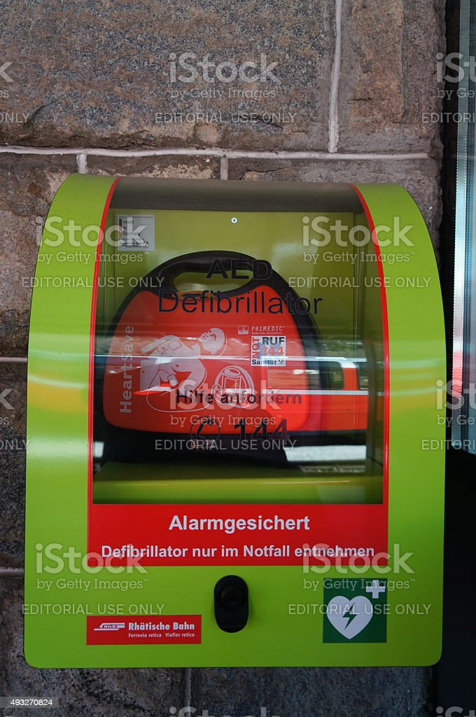 Automated External Defibrillator at train station, St.Moritz,Switzerland. stock photo