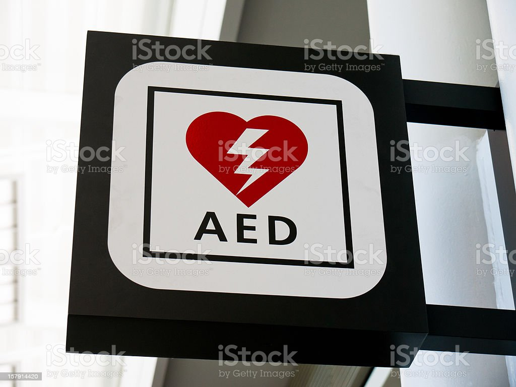 AED Automated External Defibrillator Sign stock photo