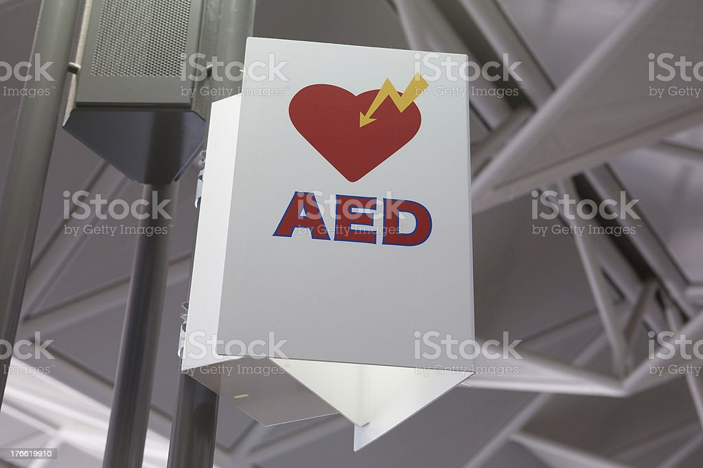 Automated External Defibrillator Sign stock photo