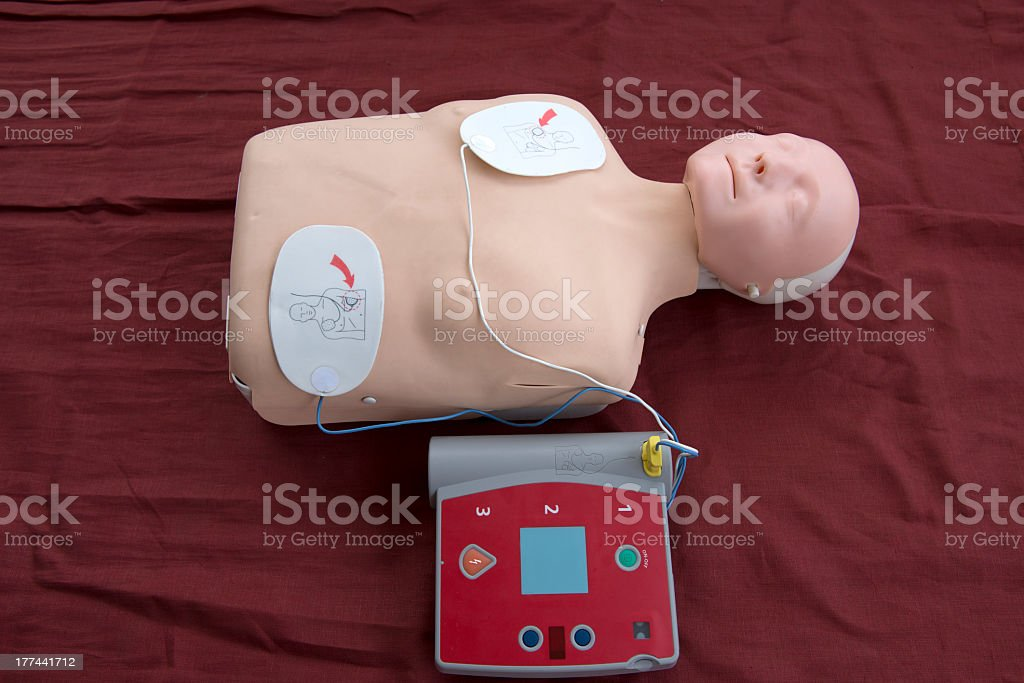 Automated External Defibrillator with training dummy royalty-free stock photo