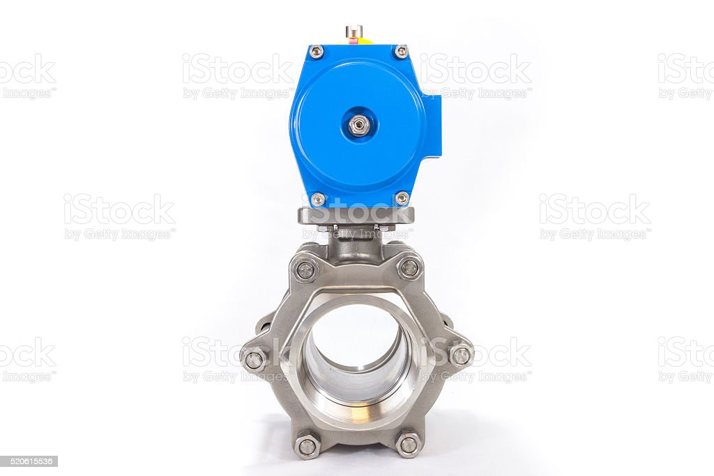 Automated metal valve with blue pneumatic automator stock photo