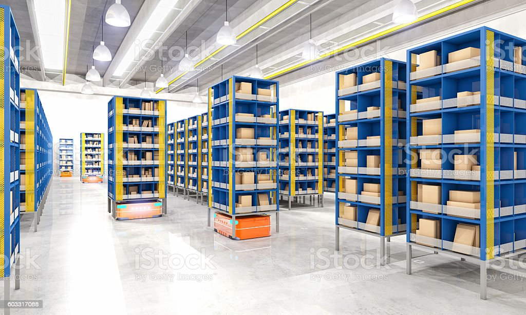 automated modern warehouse stock photo
