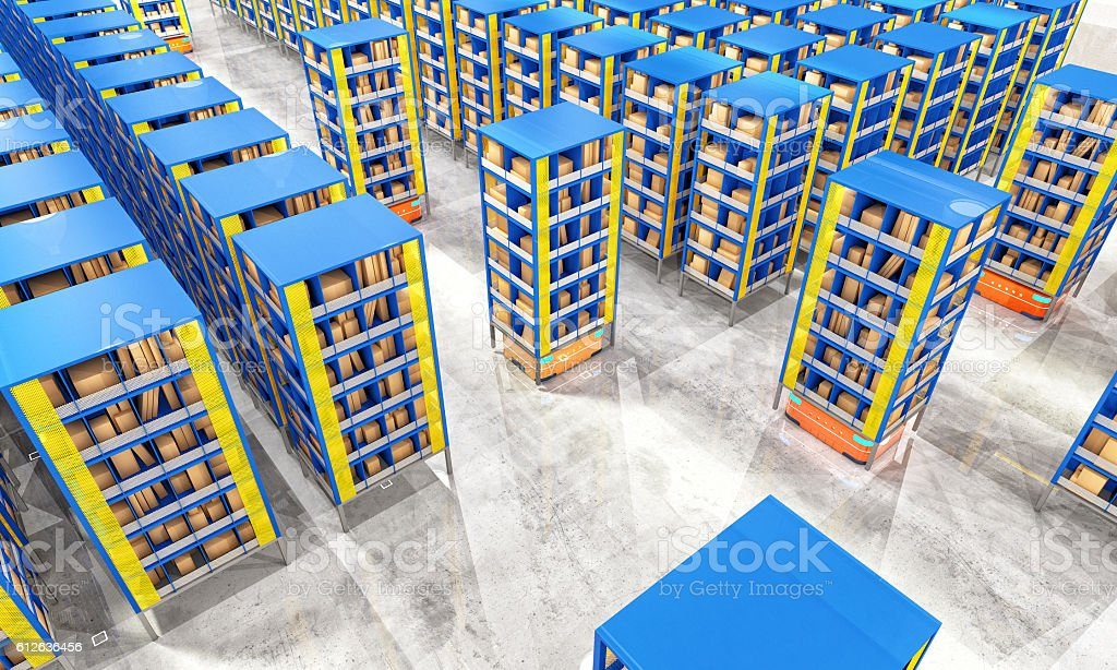 automated modern warehouse stock photo