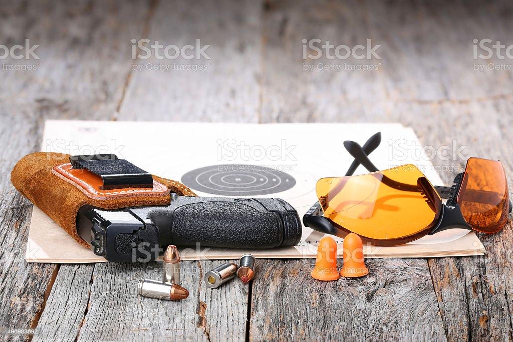 Automatic 9mm handgun stock photo