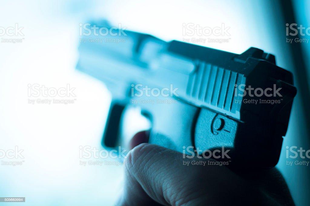 Automatic 9mm pistol handgun weapon stock photo