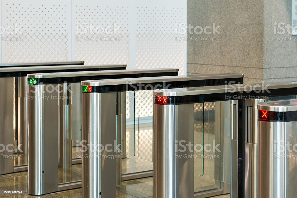 automatic access control security gate in station entrance syste stock photo