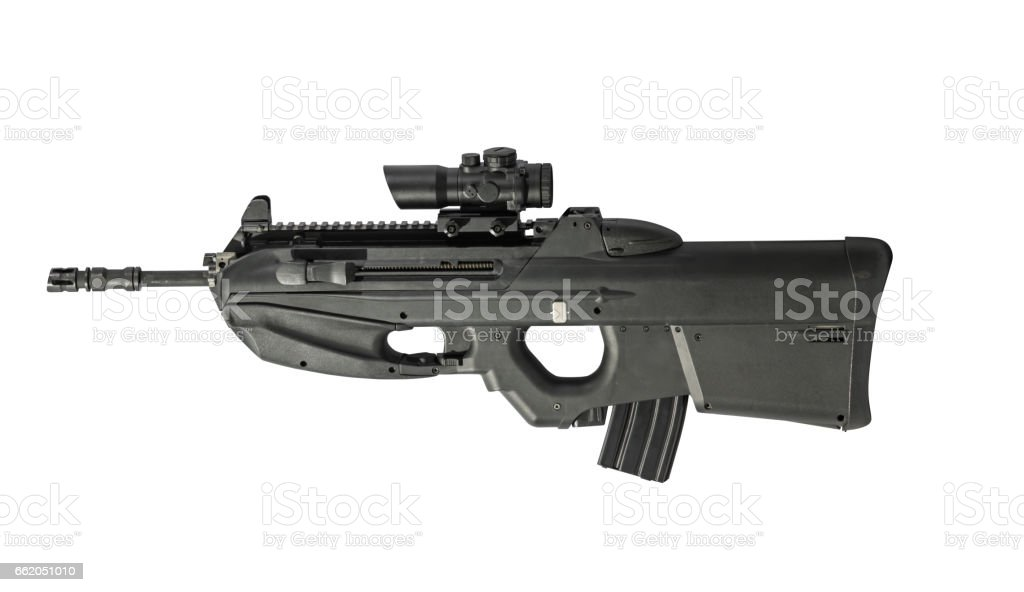 Automatic Assault Rifle With Scope Isolated on White Background Left stock photo
