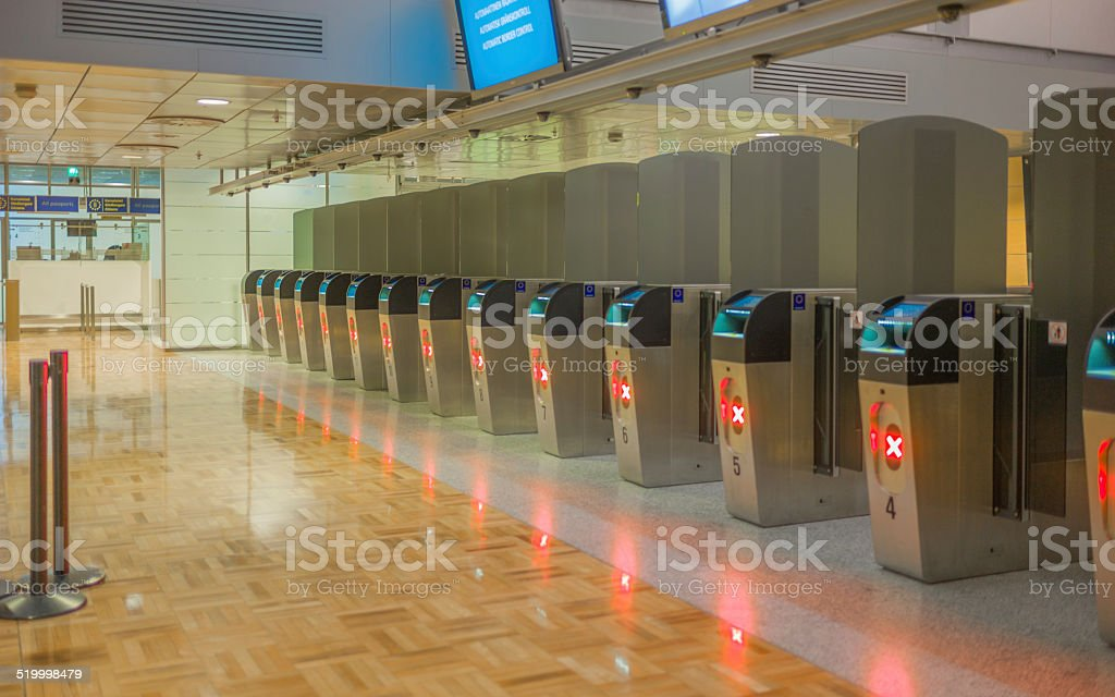 Automatic border control. stock photo
