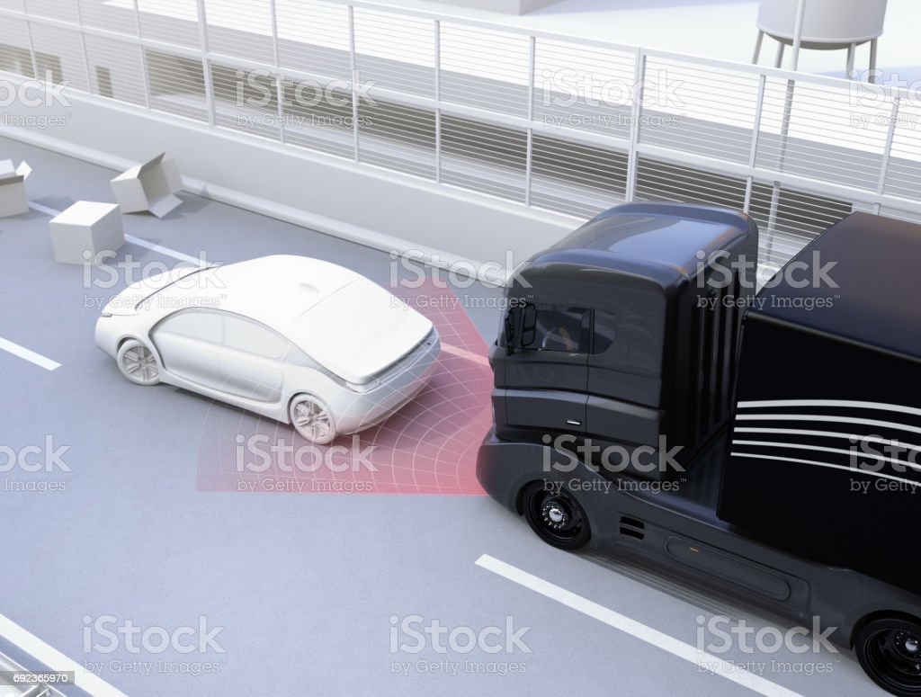 Automatic braking system avoid car crash from car accident stock photo