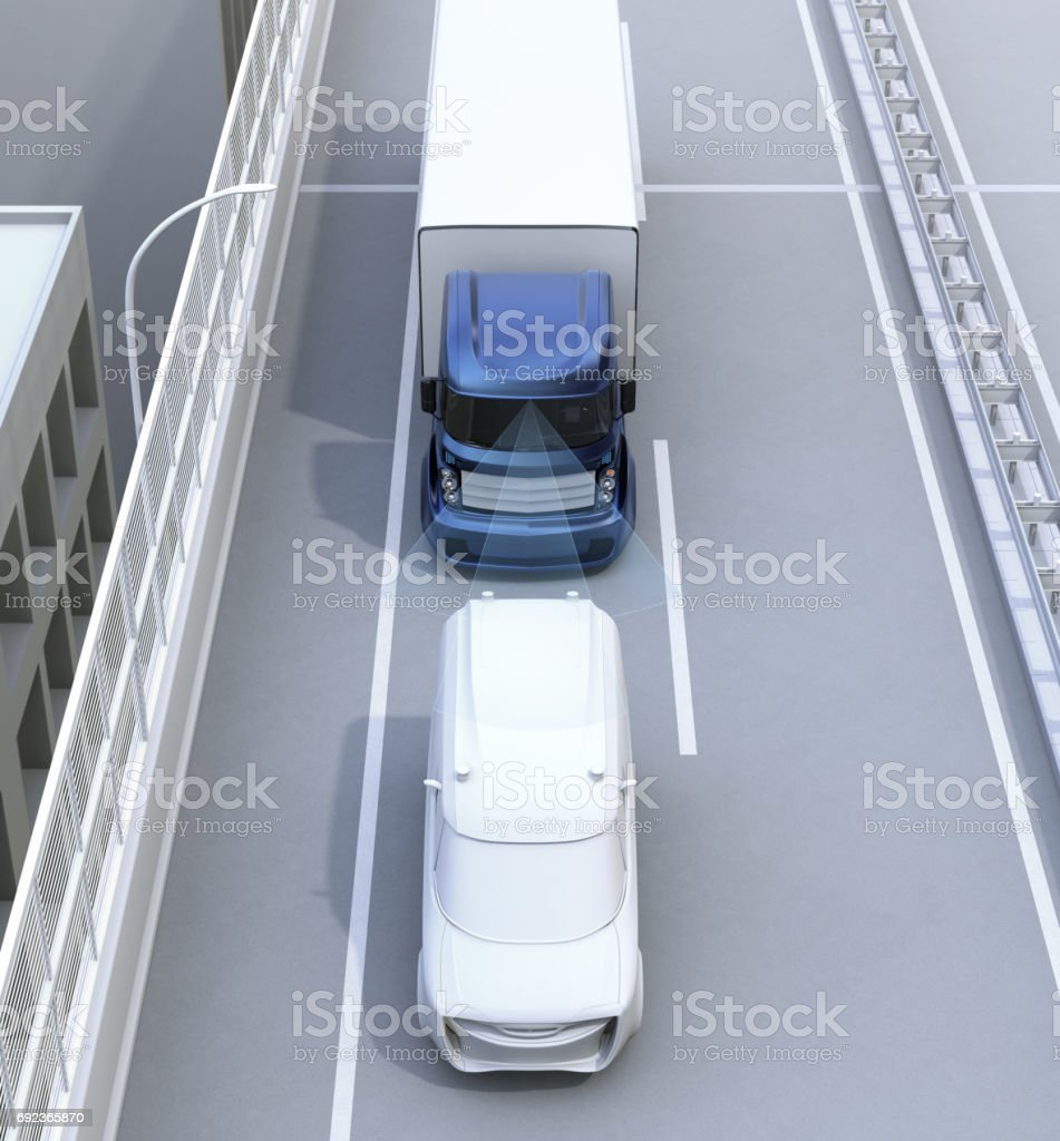Automatic braking system concept for commercial truck stock photo