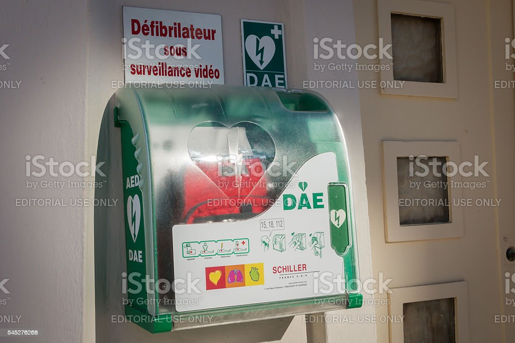 automatic defibrillator on the beach stock photo