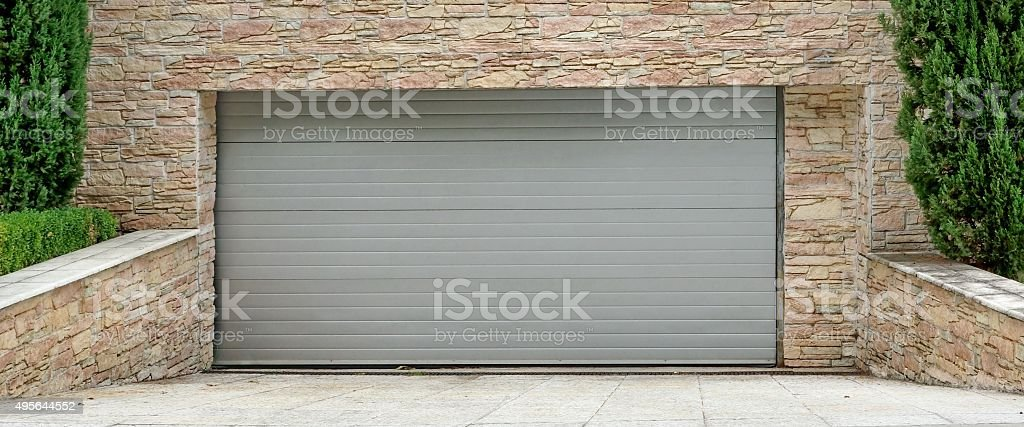 Automatic Electric Roll-up Commercial Garage Gate Or Push-up Doo stock photo