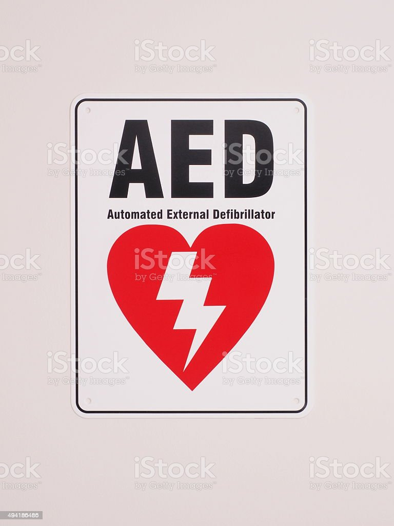 Automatic Electronic Defibrillator location sign stock photo