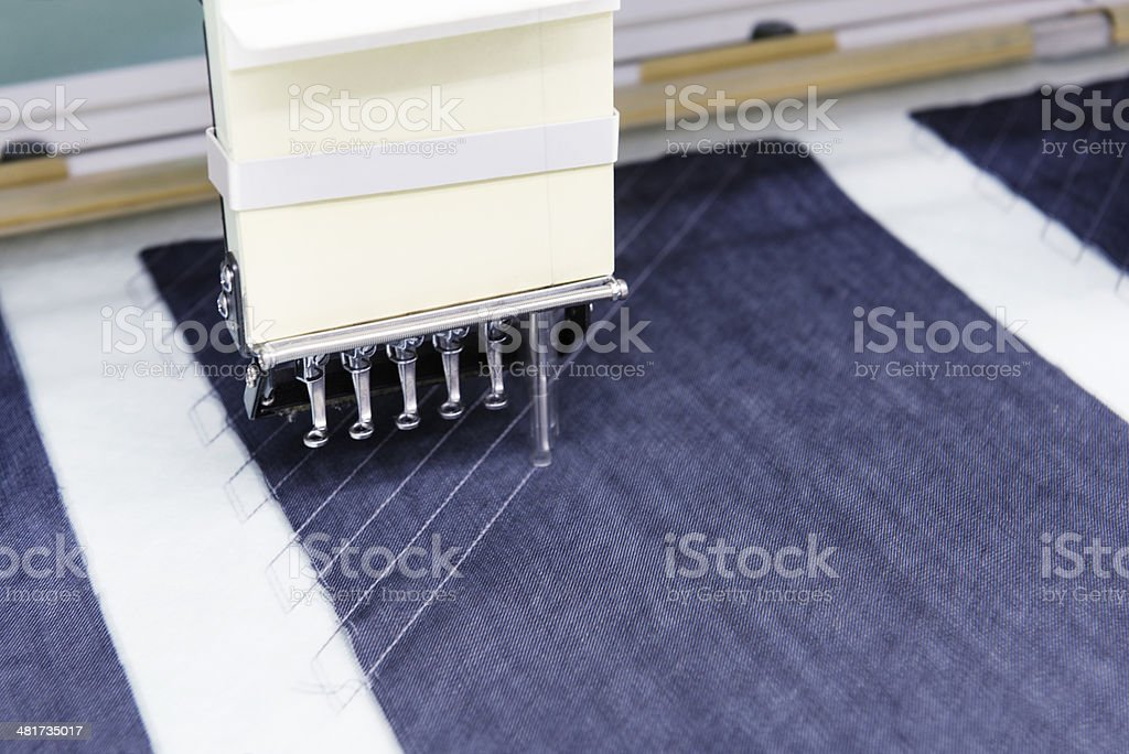 Automatic Embroidery Machine in Textile Factory stock photo