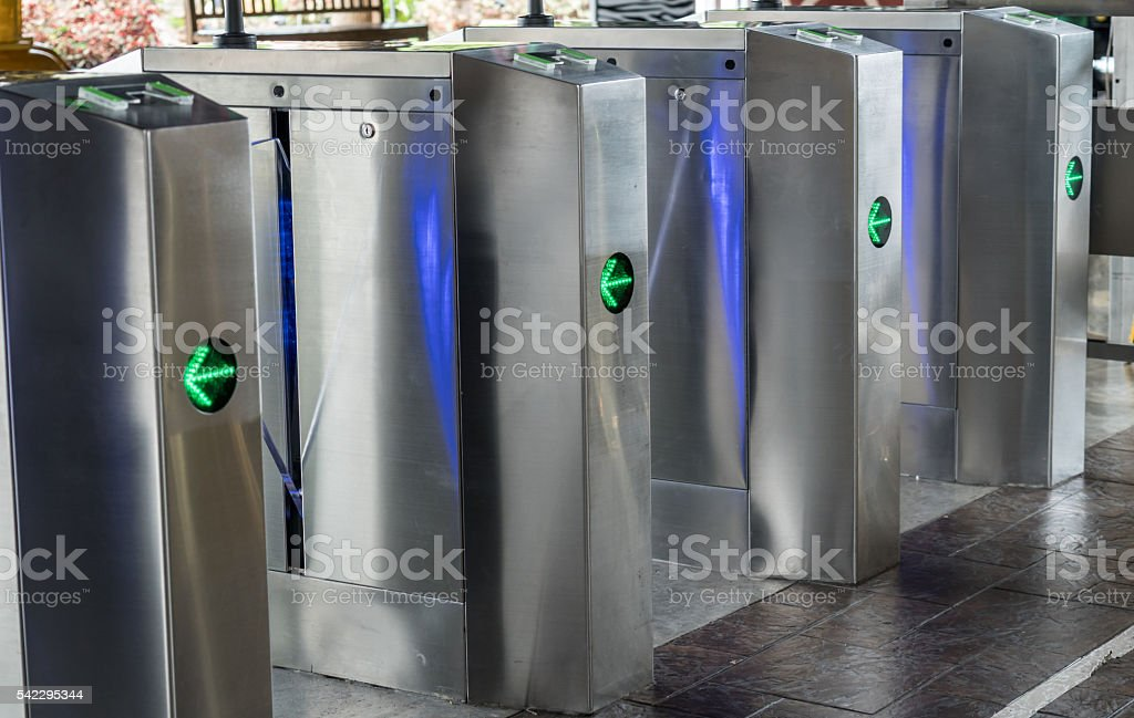 Automatic entrance gate stock photo