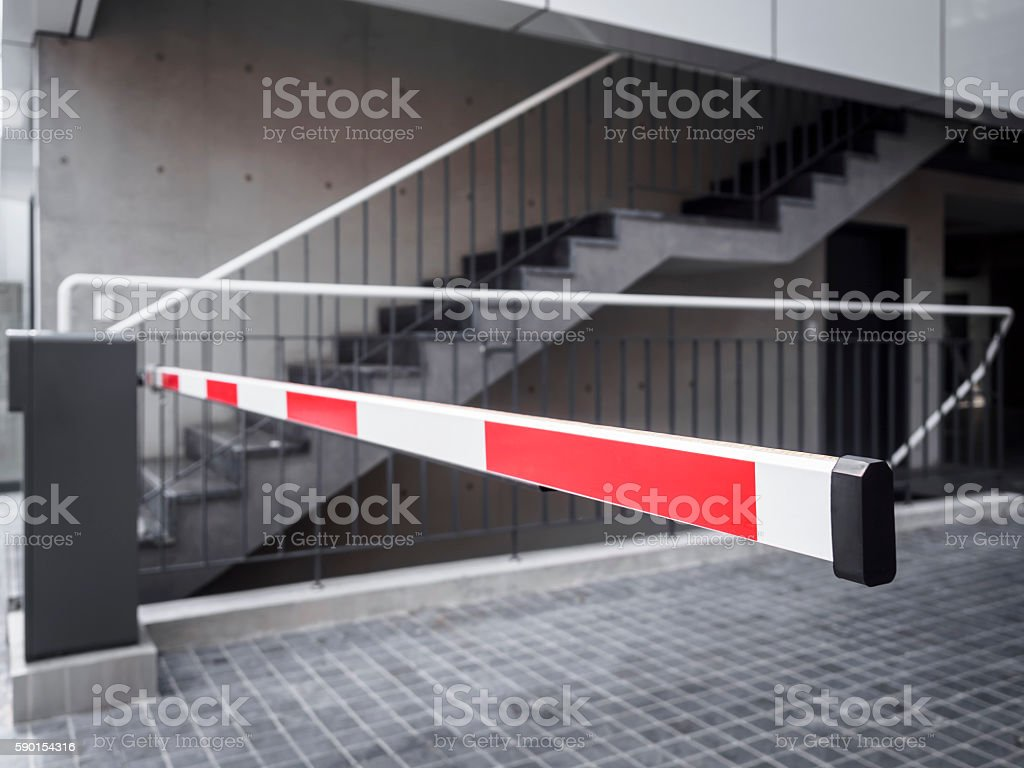 Automatic Gate Barrier Parking sign Building Entrance access stock photo