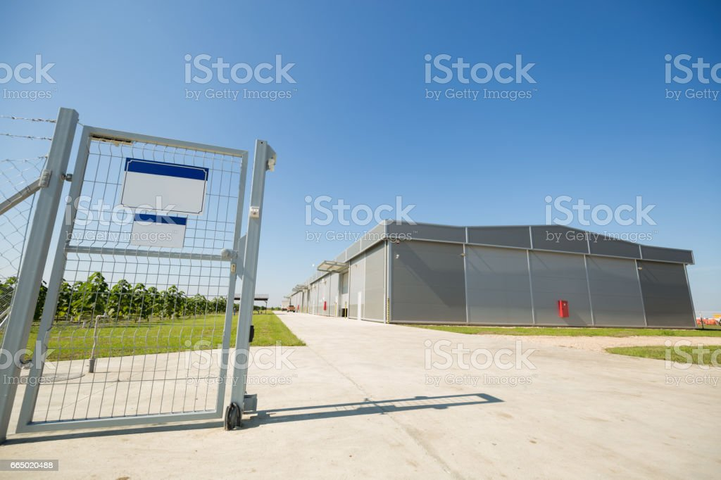 Automatic gate ensuring property security stock photo