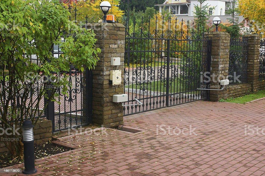 Automatic gate stock photo