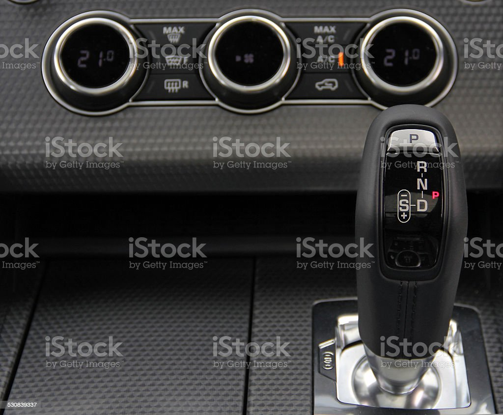 Automatic gear shift handle stock photo