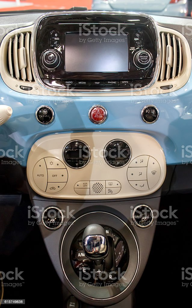 Automatic gearshift with audio control button and climate control panel stock photo