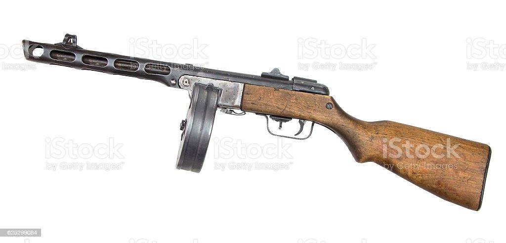 Automatic gun isolated on white background stock photo
