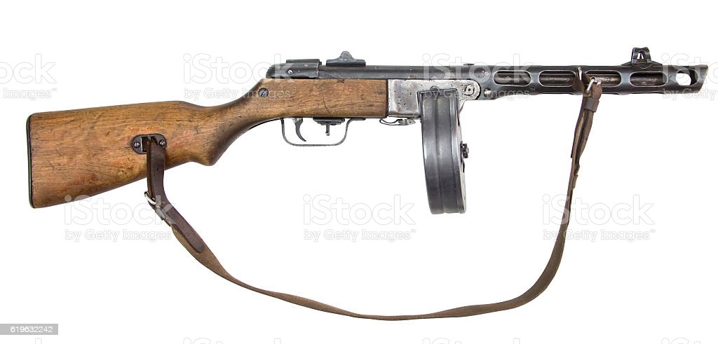 Automatic gun isolated on white stock photo