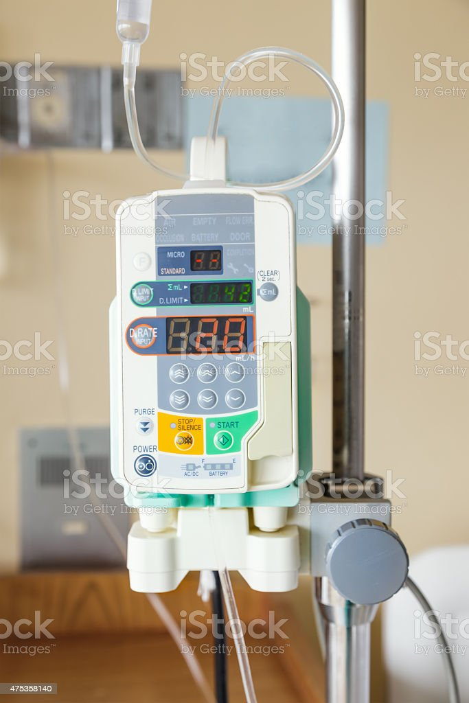 Automatic infusion pump of IV drop stock photo