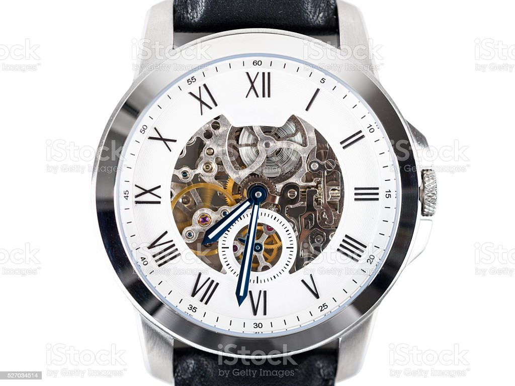 Automatic Men Watch With Visible Mechanism stock photo