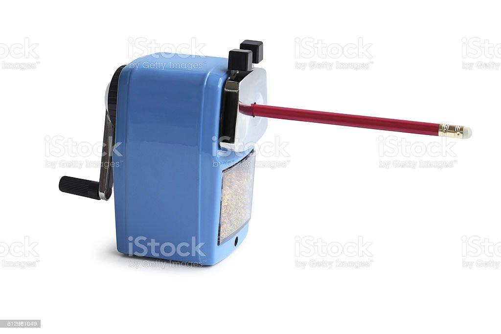 automatic metal pencil sharpener closeup stock photo