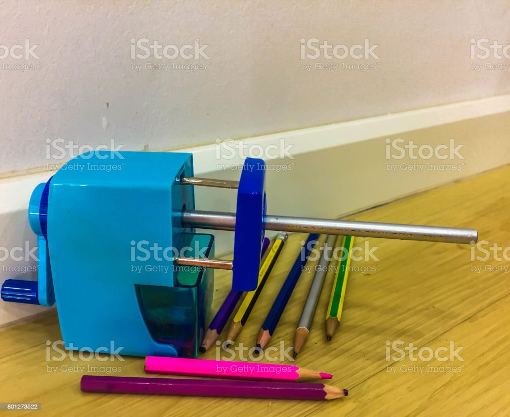 Automatic pencil sharpener stock photo
