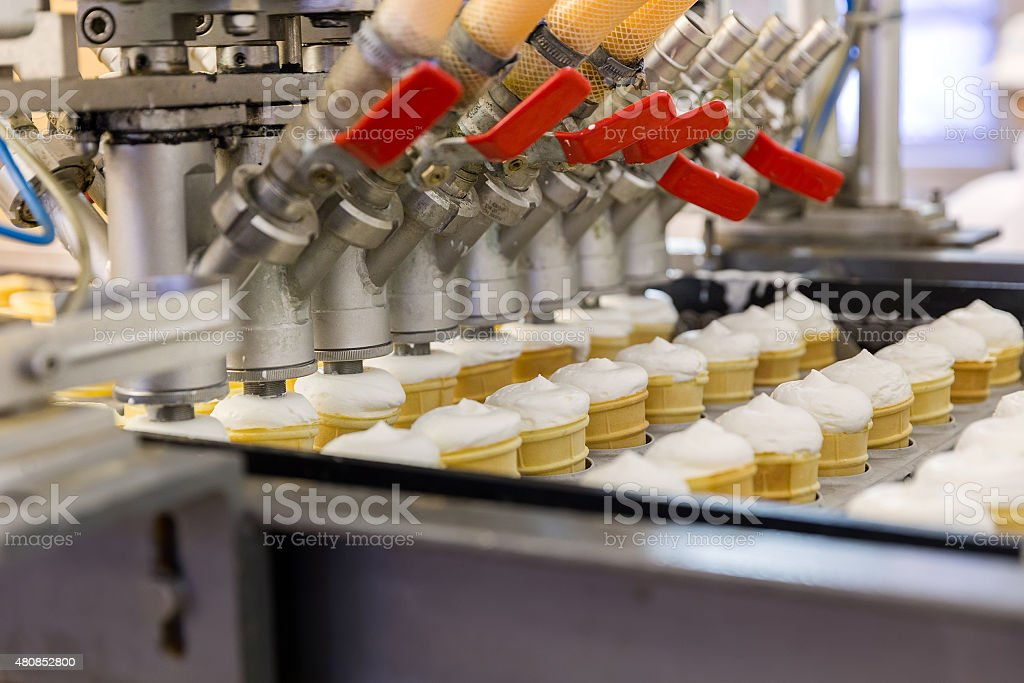 Automatic production line of ice cream stock photo