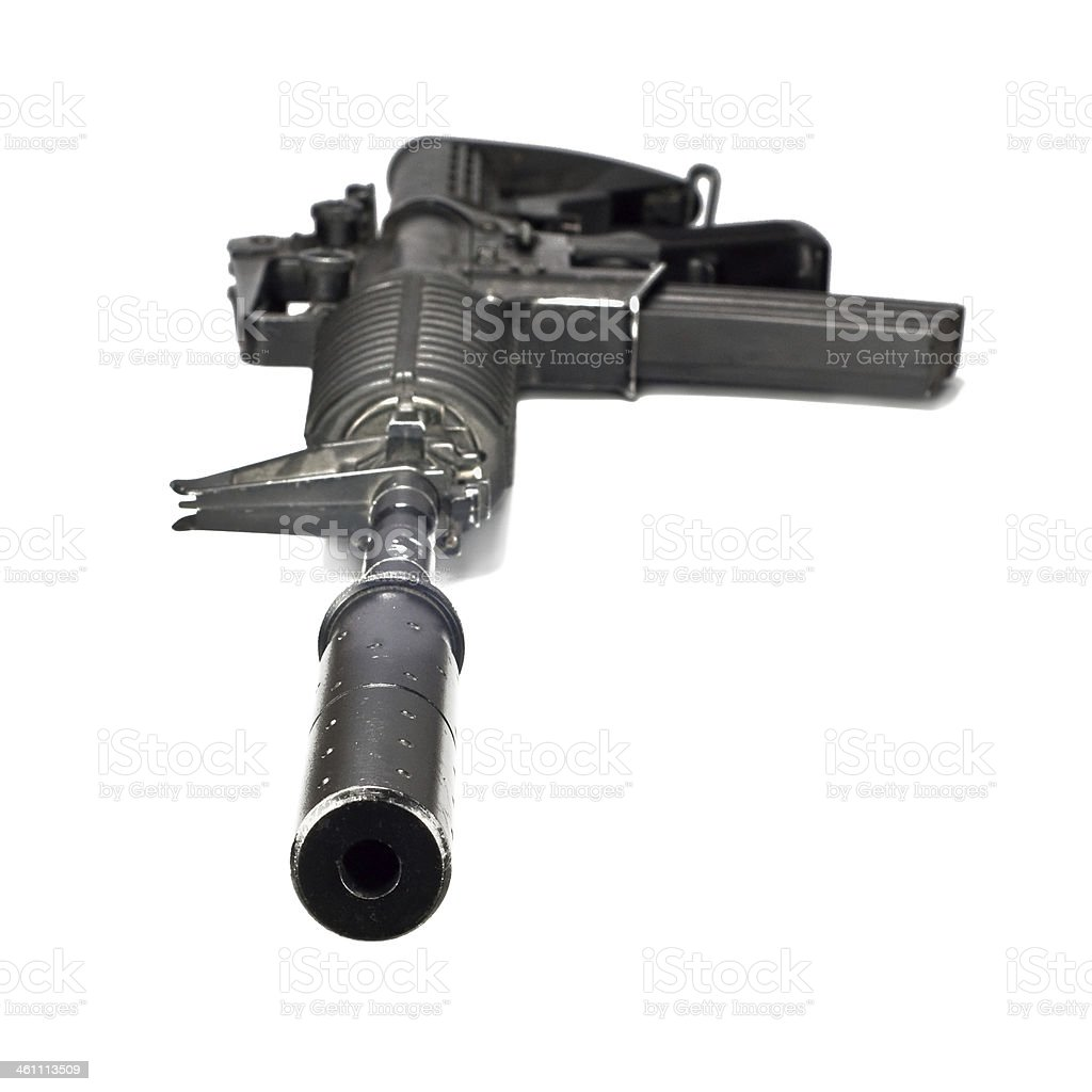 automatic rifle with a silencer stock photo