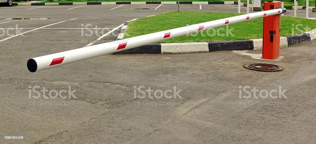 Automatic Rising Arm Or Boom Barrier stock photo