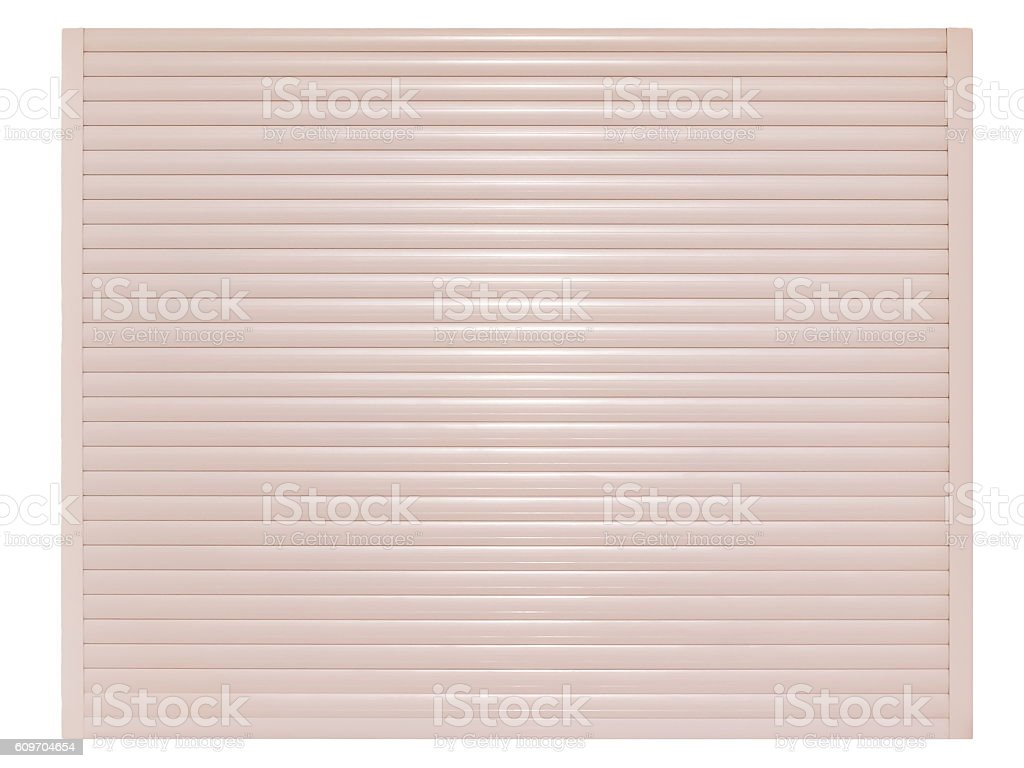 Automatic roller shutter door isolated on white background stock photo