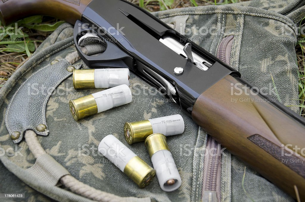 Automatic Shotgun And Cartridges royalty-free stock photo