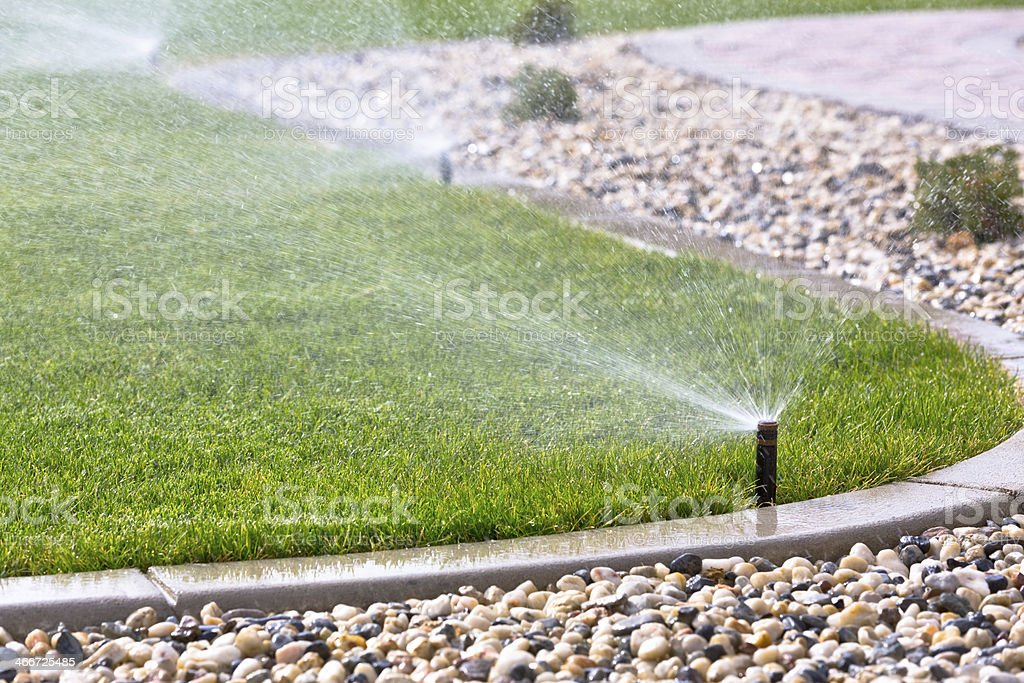 Automatic sprinklers stock photo