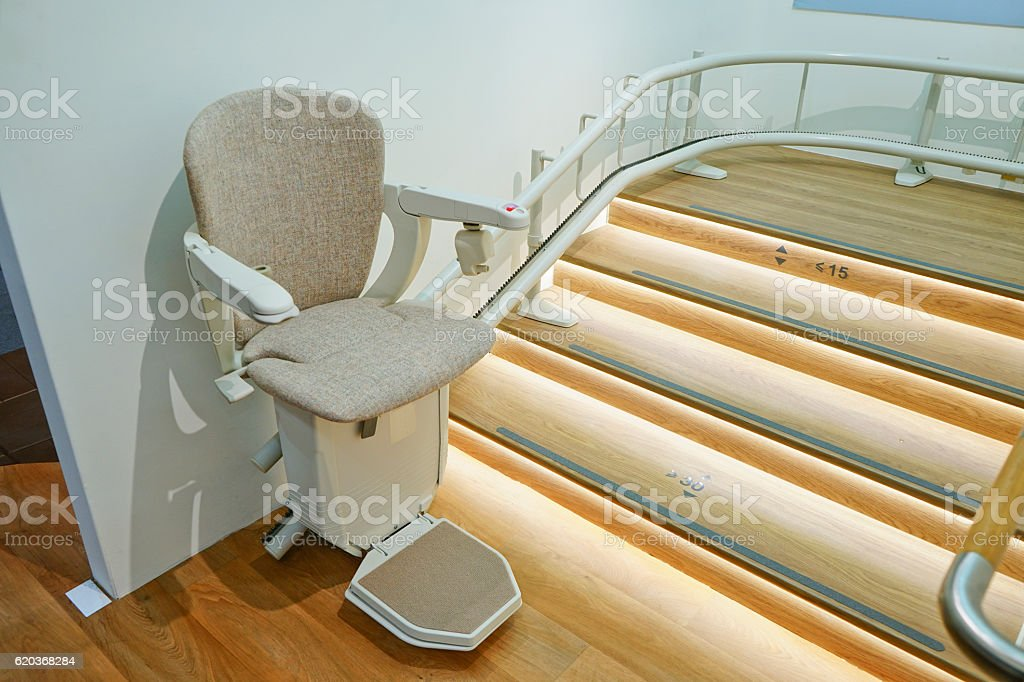 Automatic stair lift. stock photo