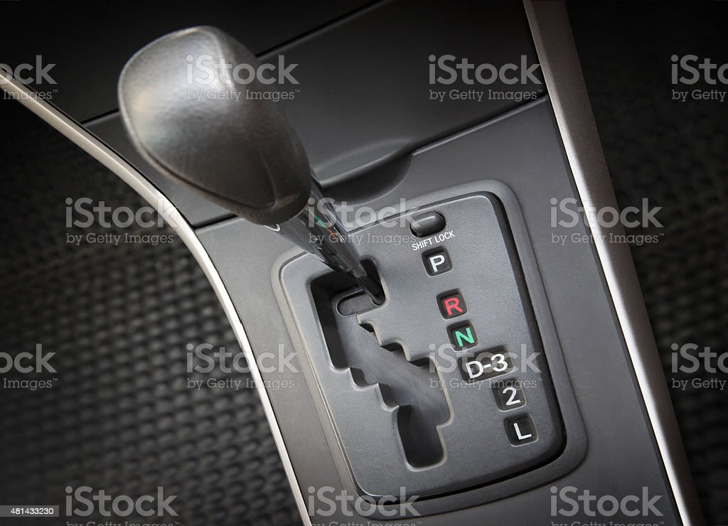 Automatic stick shift in the car stock photo