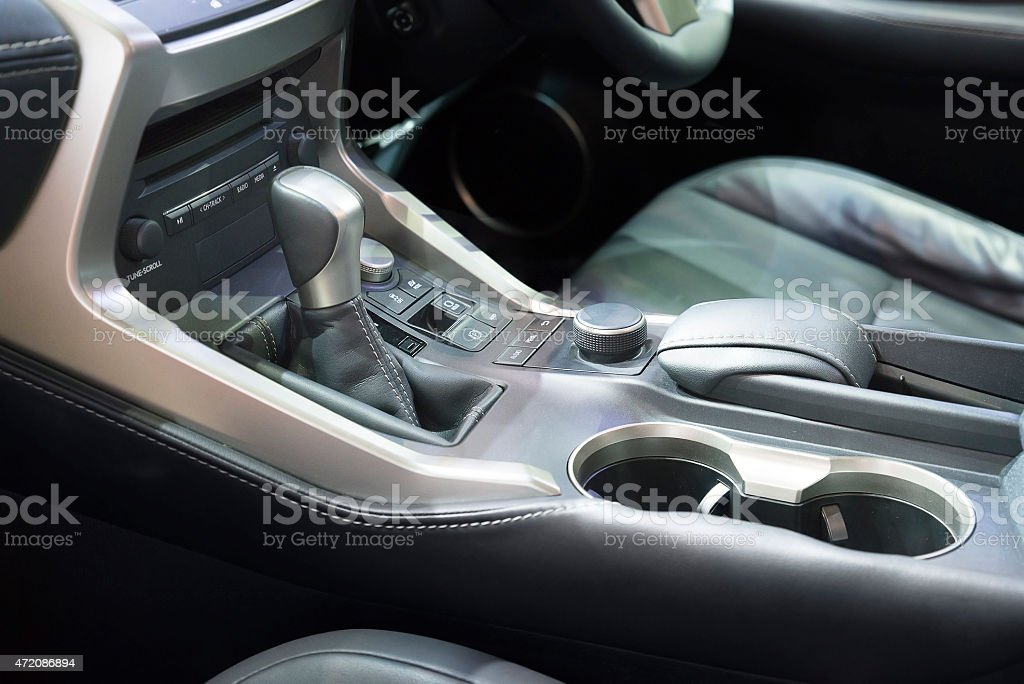 Automatic transmission gear shift in car stock photo