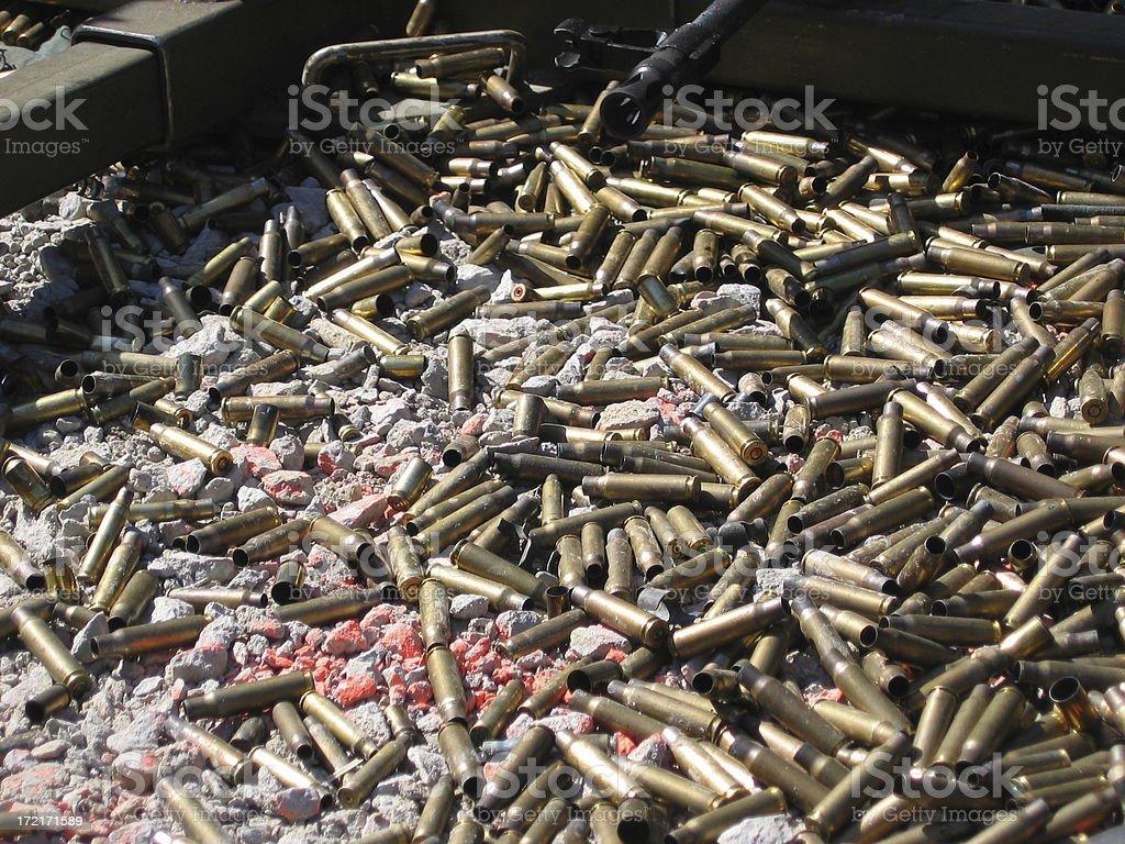 Automatic weapon shells stock photo