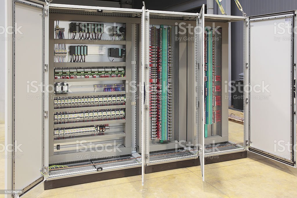 Automation barriers panel board stock photo