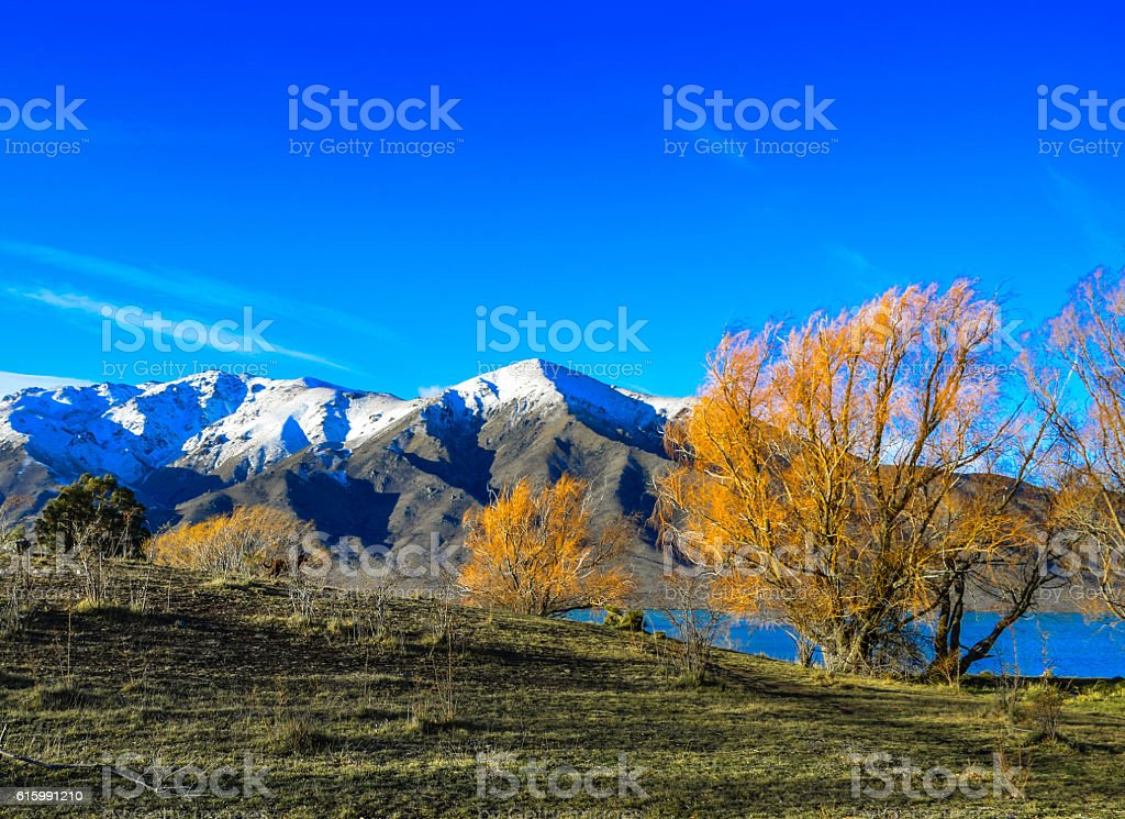 Automn view of the mountain and Lake in New Zealand. royalty-free stock photo