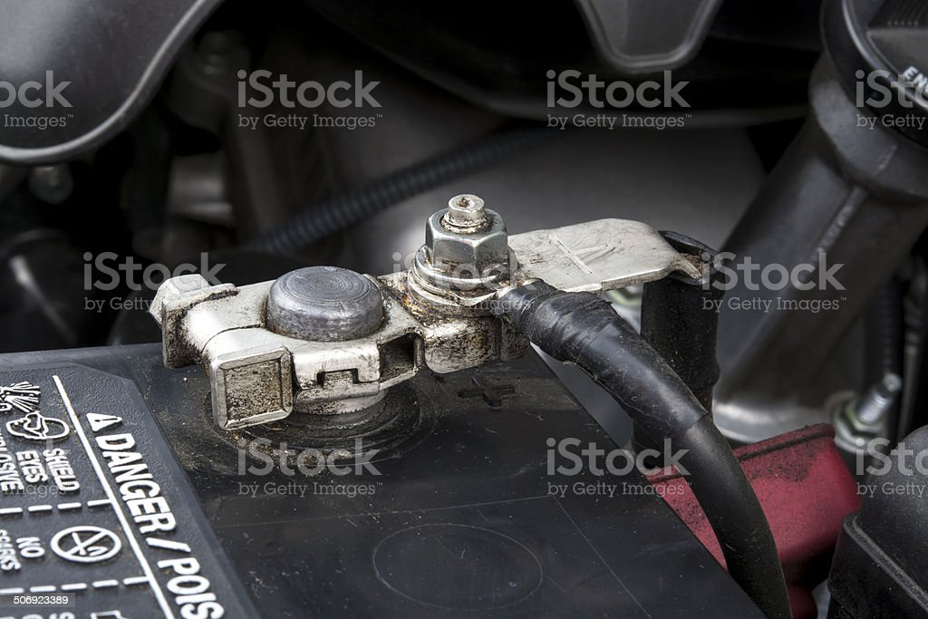 Automobile battery terminal stock photo