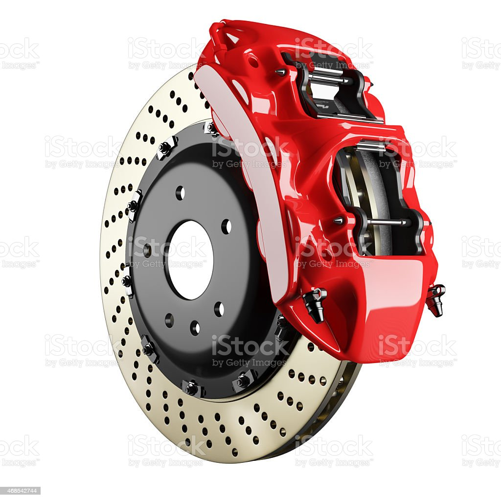 Automobile brake disk and red caliper stock photo
